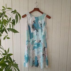 Reiss blue white watercolor sleeveless shift dress